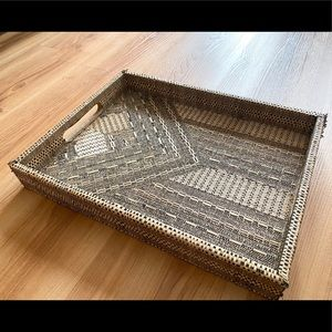 HOME GOODS BEIGE BLACK WOVEN SERVING TRAY